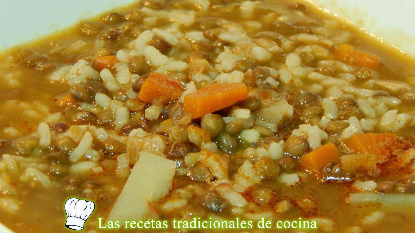 Lentejas con arroz y verduras, receta fácil