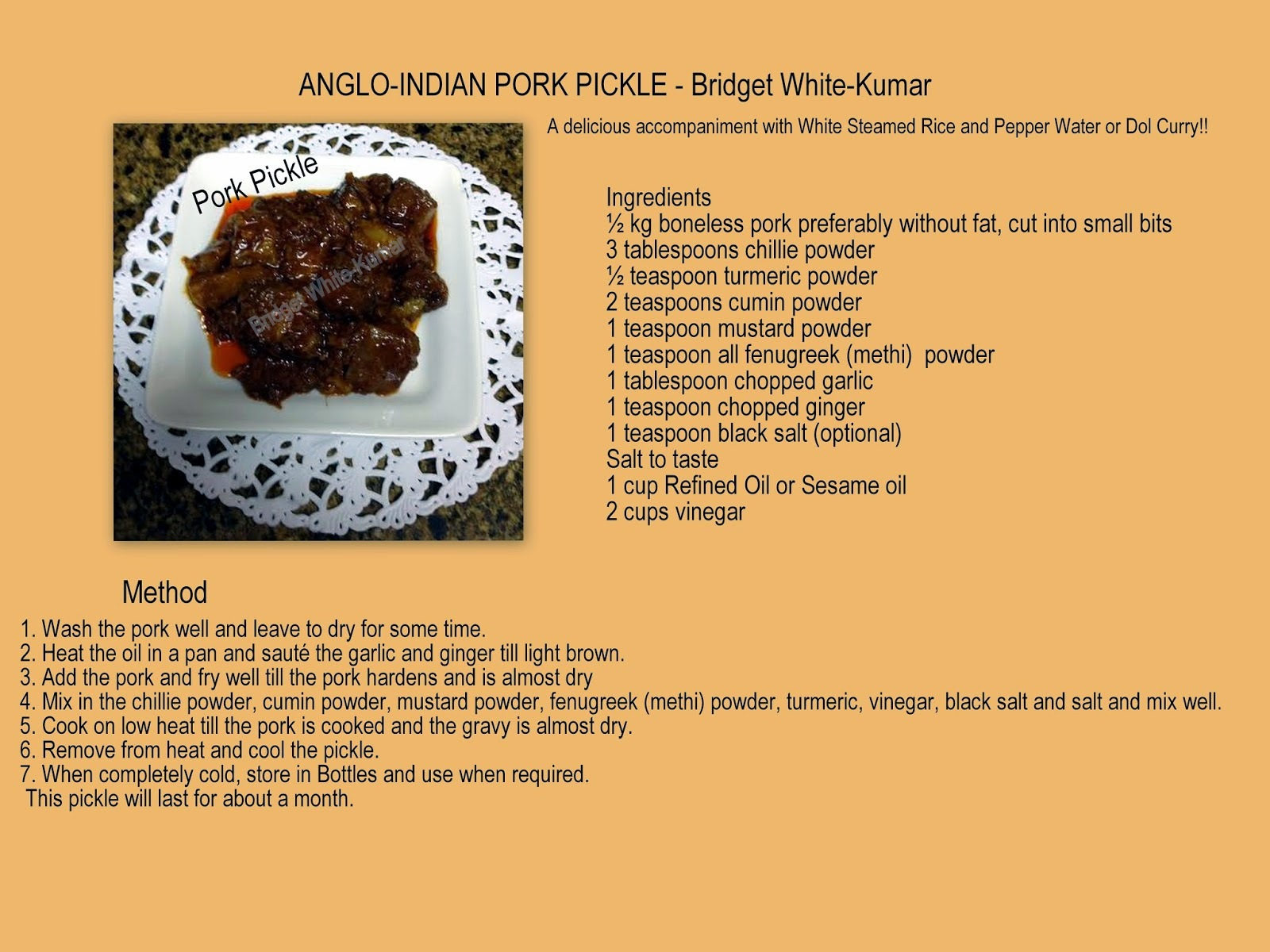 ANGLO-INDIAN PORK PICKLE