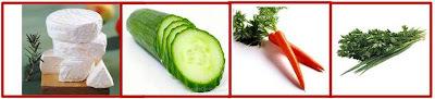 Hamburguinho de ricota com palitos de legumes!