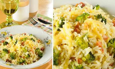 de arroz com brocolis e bacon