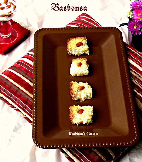 Basbousa  ( An egyptian dessert ) / Simple Rava Cake with stepwise pictures - Diwali special