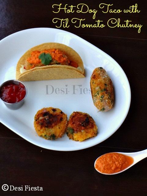 Combo platter 3 - Hot Dog Tikki Taco with Til Tomato chutney  ( aloo tikki taco)
