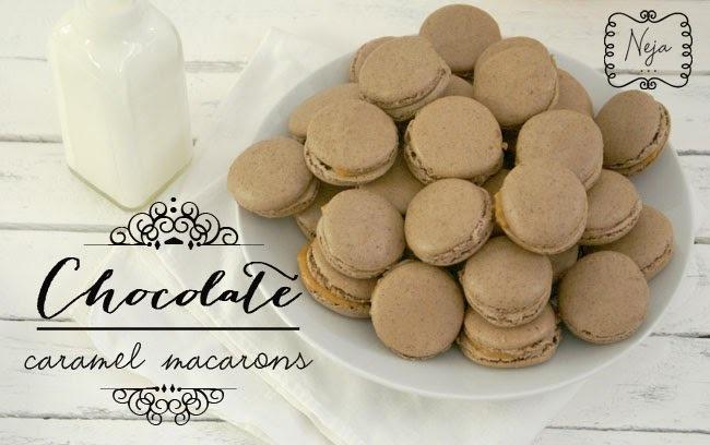 Chocolate and  caramel macarons & My 1st blog anniversary