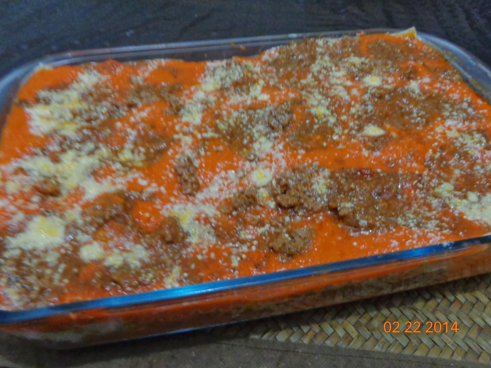 Lasanha Nordestina: Abobora com carne Moída