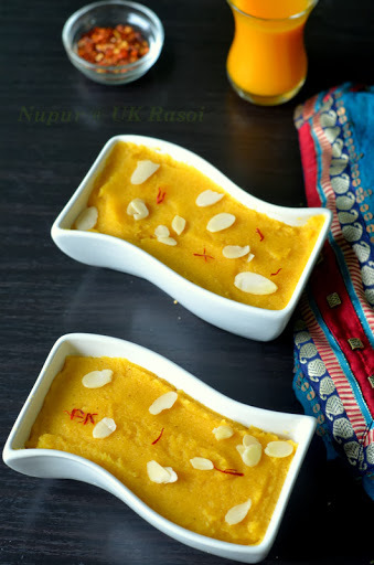 Sooji ka halwa with mango and carrot / Mango Kesari / Mango sheera .. Navratri recipe