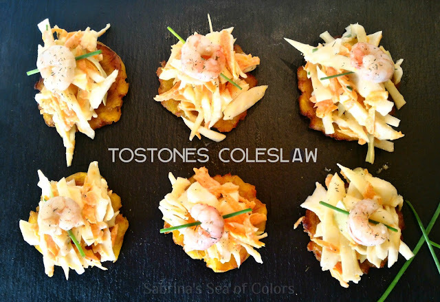 Tostones con coleslaw, un aperitivo diferente