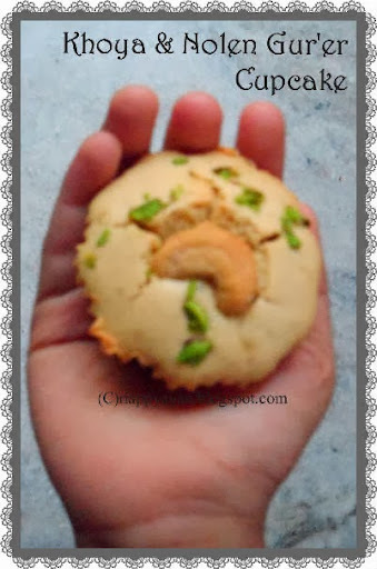 Khoya/mawa and Nolen Gur'er(palm jaggery) Cupcake with pistachio flavour