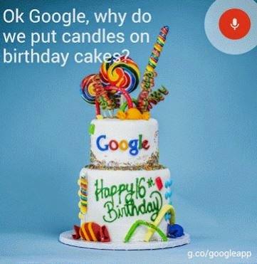 Bolo de aniversário do Google, 16 anos!