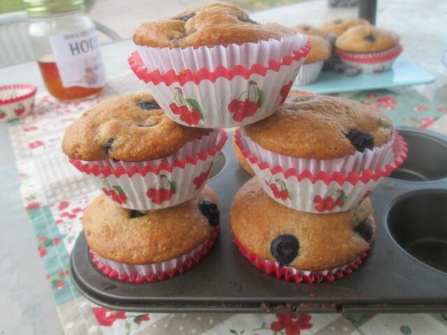 Greek yogurt and Honey blueberry muffins (Muffins de arándanos con miel)