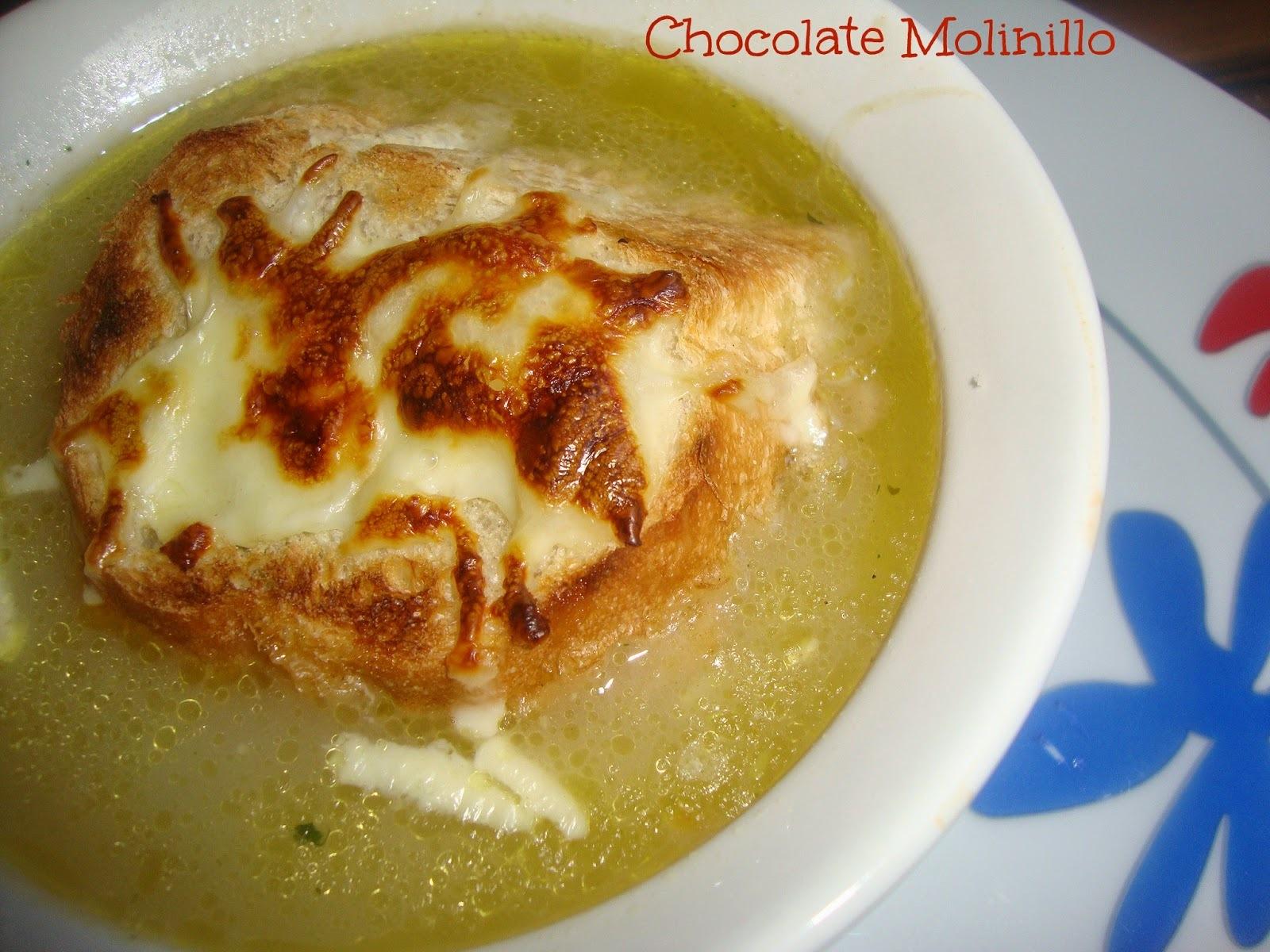 Sopa de Cebolla Francesa al estilo Chocolate Molinillo
