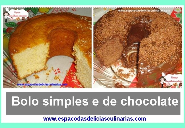 Bolo simples, e de chocolate com cobertura de chocolate