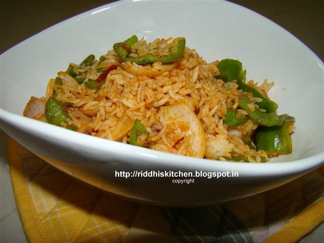 Schezwan Onion Pepper Rice