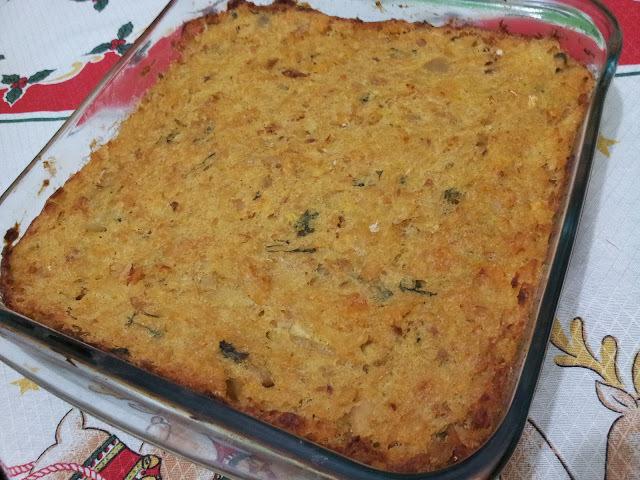 torta de bacalhau com pure de batatas