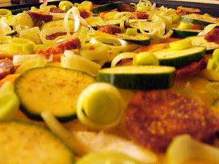 Zöldséges rakott krumpli (most éppen cukkínis-répás)