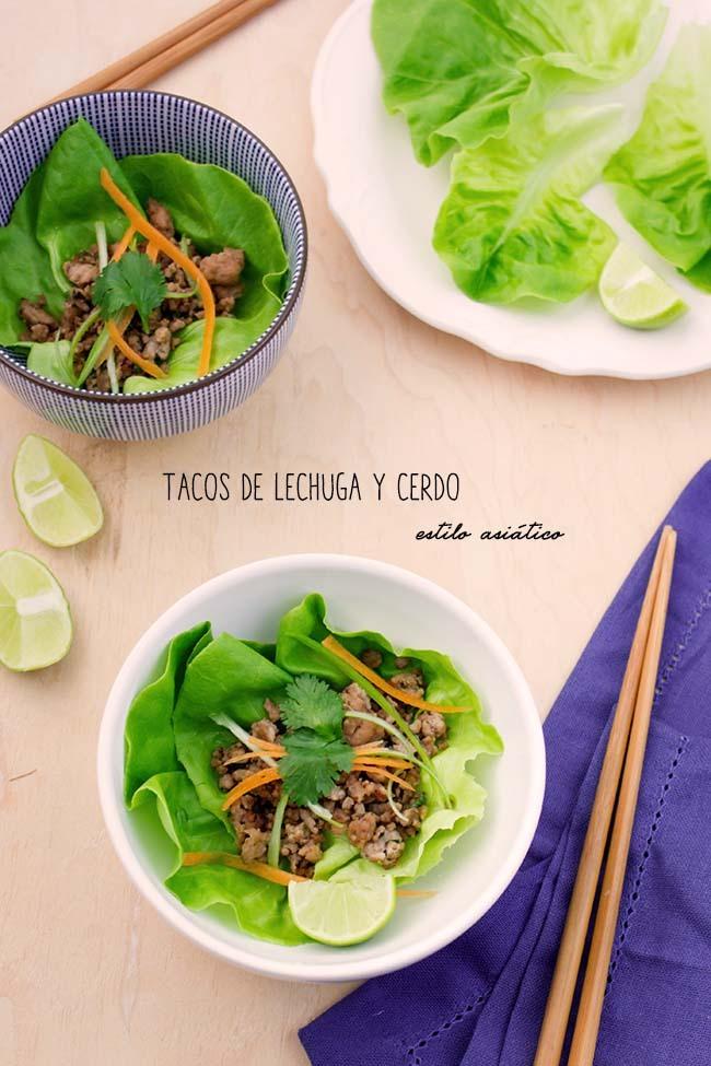 Tacos de Lechuga y Cerdo al estilo Asiático