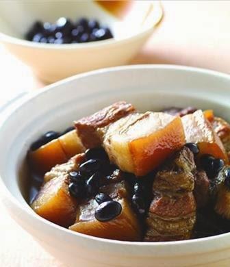 Black beans, pork brine