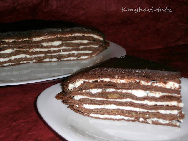 Túrós-csokis palacsintatorta