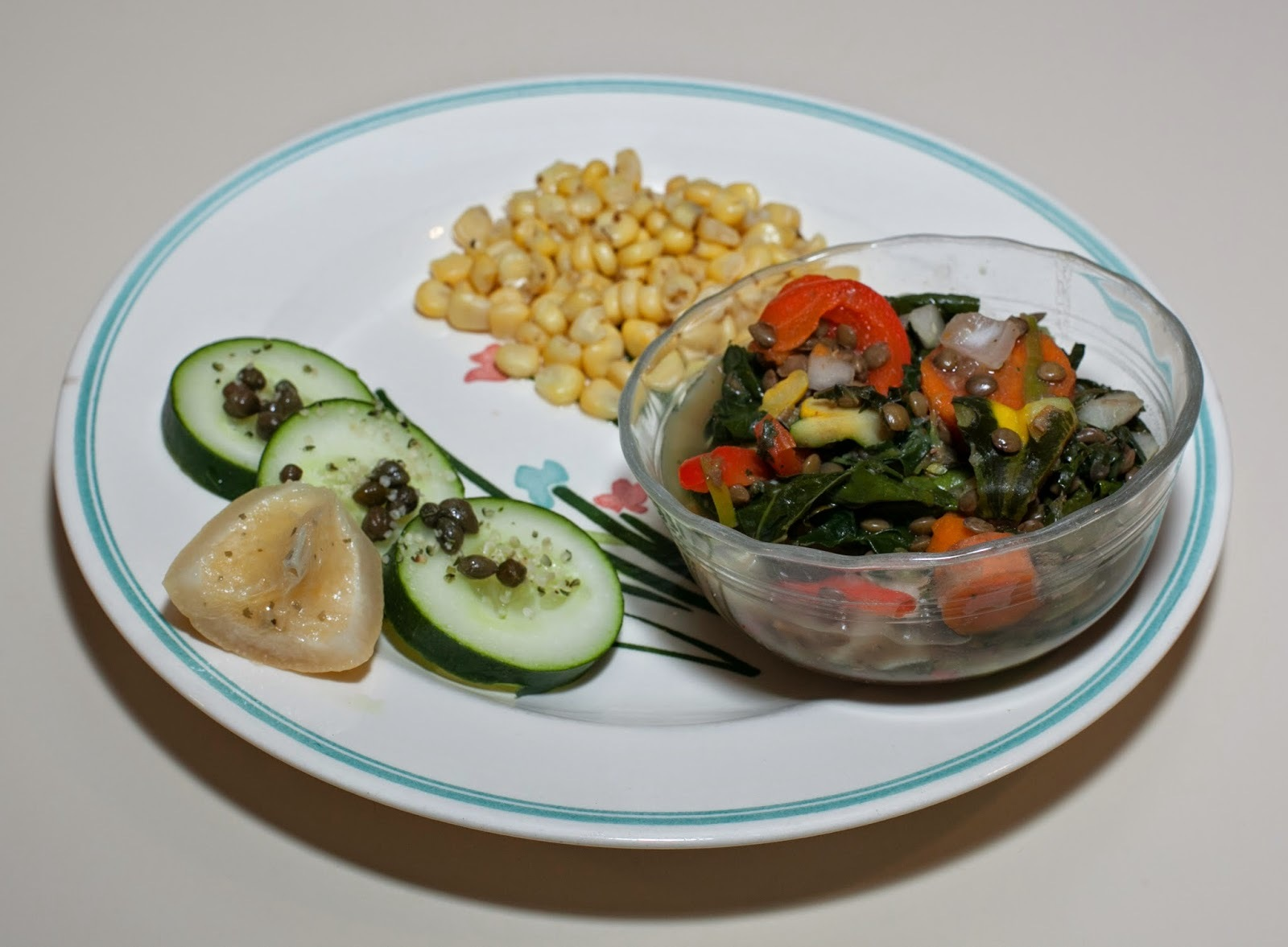 Patty Pan Squash - French Lentil - Kale served with Salad and Corn (Almost No Added Fat)