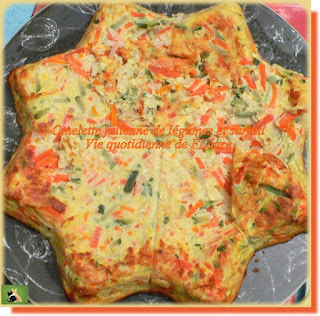 Omelette julienne de légumes et surimi