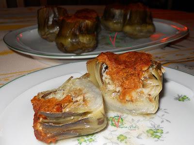 Alcachofas rellenas de sobrasada vegetariana