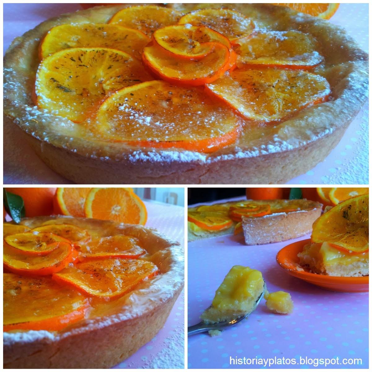 Tarta con curd de naranjas y naranjas acarameladas