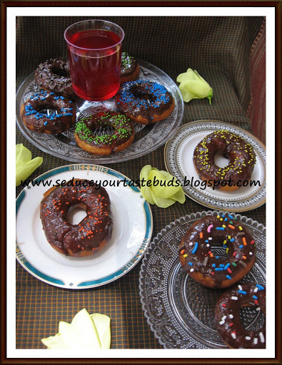 Eggless Chocolate Glazed Doughnuts / Donuts