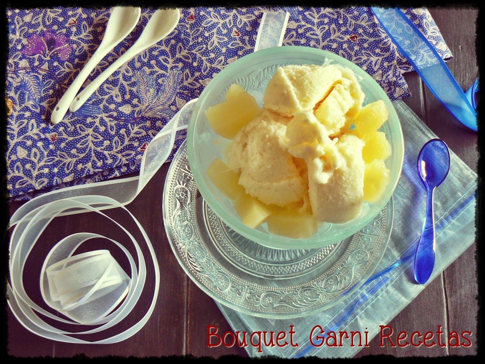 Helado de ananá con queso (y sin heladora)