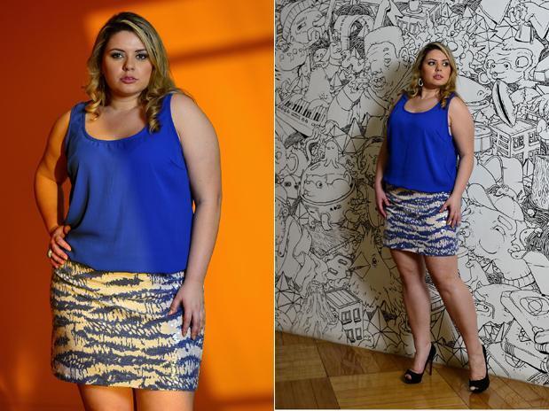 Modelo plus size procura roupa em lojas de grife de São Paulo