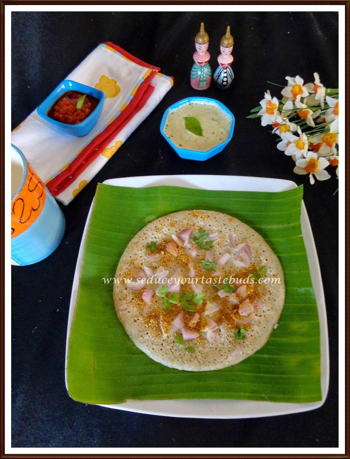 Kambu Onion Uthappam | Pearl Millet[Bajra] Onion Uthappam and Sesame Chutney