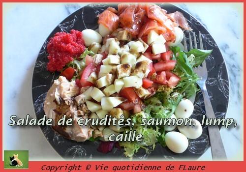 Salade de crudités, saumon, lump, caille