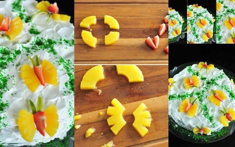 Decoração de Bolo Com Frutas Formato de Borboletas