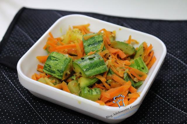 salada de corredor abobrinha e cenoura cozida