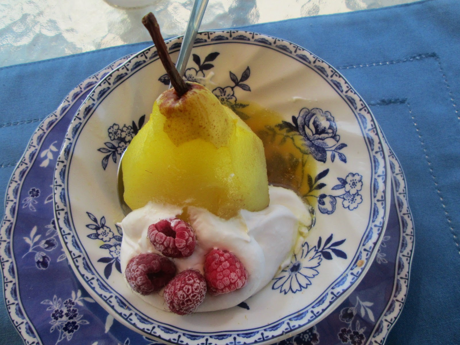 Poached pears with cardamom and saffron and SWAP