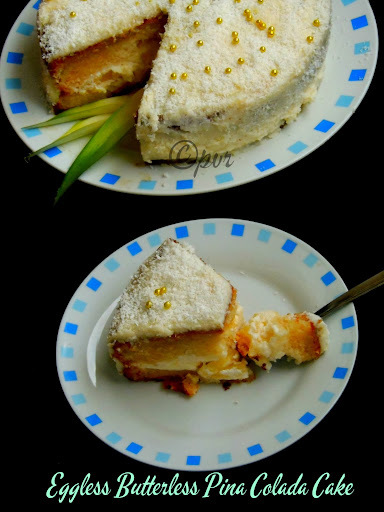 Eggless pineapple cake without oven