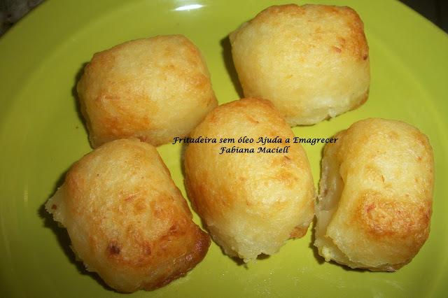 Cubinho de Aipim recheado e frito na Fritadeira sem óleo AirFryer