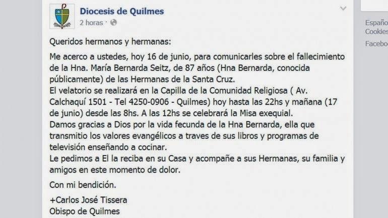 Falleció la Hermana Bernarda