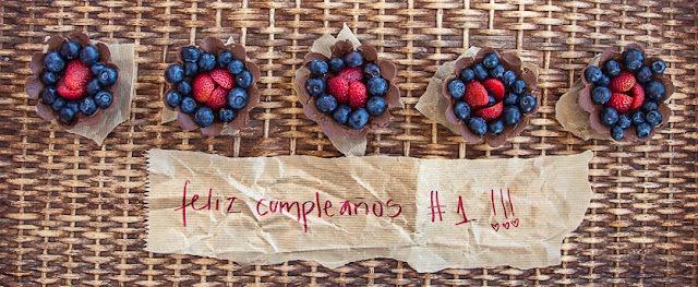tartas frutos del bosque y cacao + aniversario blog