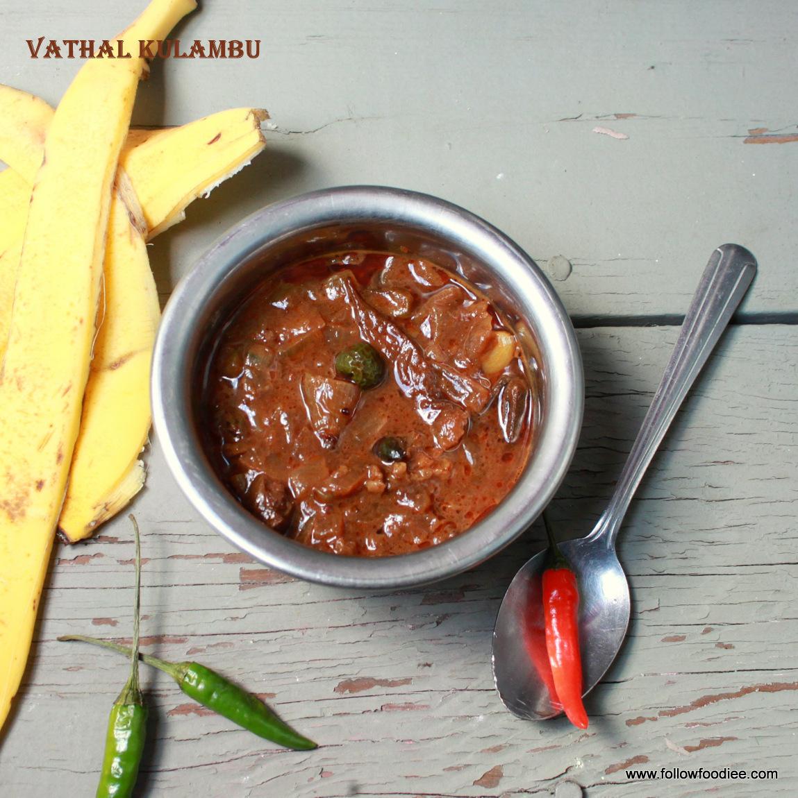 vatha kulambu / வத்த குழம்பு / Tangy gravy made with sun dried vegetables