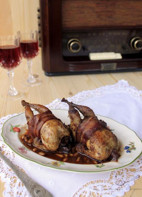 Codornices asadas en salsa agridulce de vino tinto