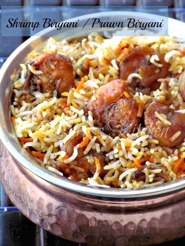 Hyderabadi Shrimp Biryani / Shrimp Dum Biryani / Prawn Dum Biryani / Eral Biryani