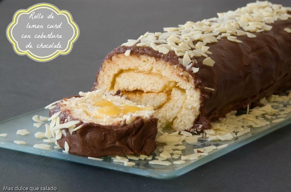 Rollo de  Lemon Curd con cobertura de  Chocolate