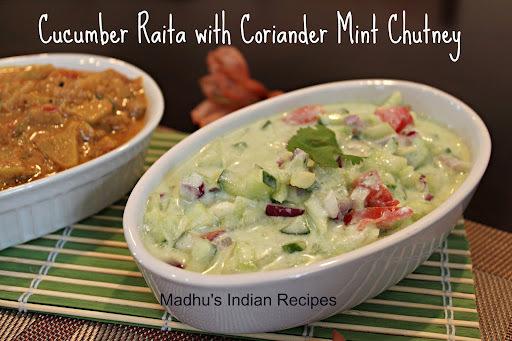 Cucumber Raita with Coriander Mint Chutney | Raita recipes | Dosakaya Perugu Pachadi