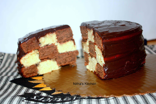 Checker Board Cake with Chocolate n Yellow Cakes