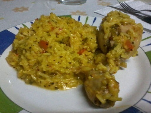 Pollo con arroz al azafran