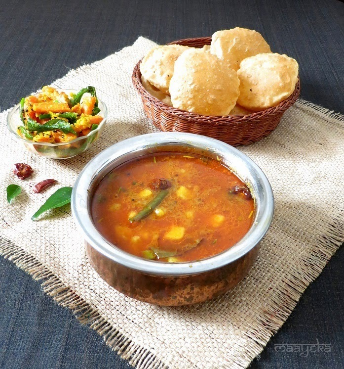 Poori Bhaji / Raswala Bateta nu Shaak / Potatoes in spicy vegetarian broth