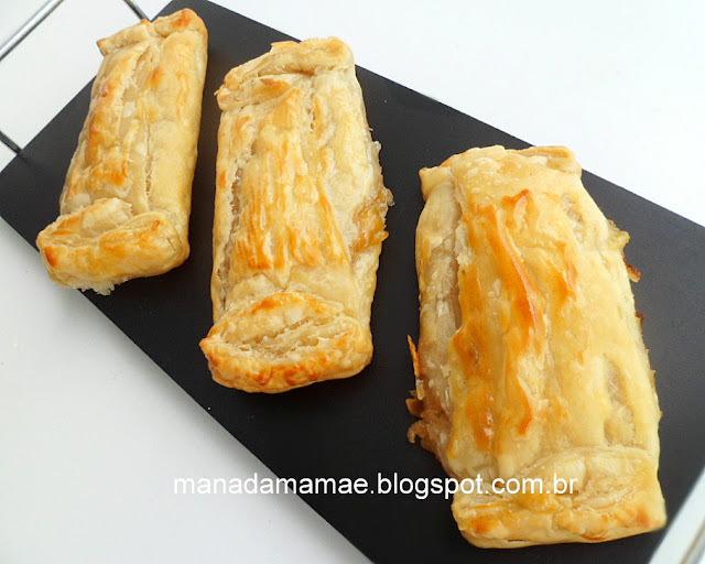 Pacotinhos  de massa folhada com creme de banana e laranja