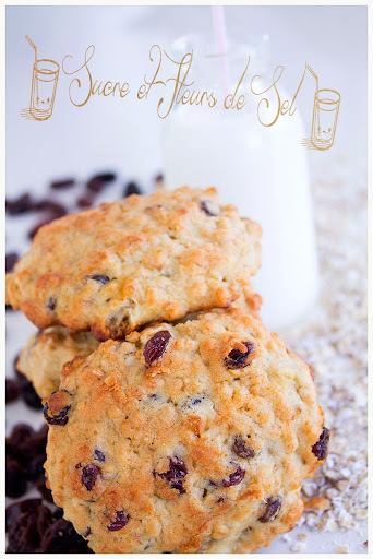 Biscuits aux bananes, flocons d'avoine et raisins sec.