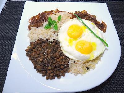 lentilha lentilha arroz manteiga vinho cebolinha
