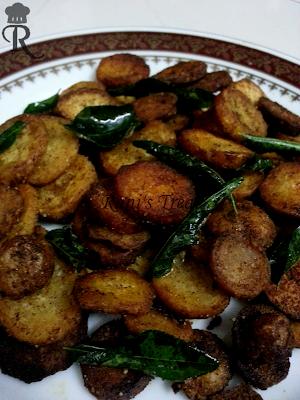 Seppankizhangu Roast (Colocasia/ Taro Root/ Arbi Fry)
