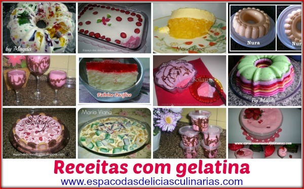 Gelatina: Mural com as fotos e link para a receita do blog